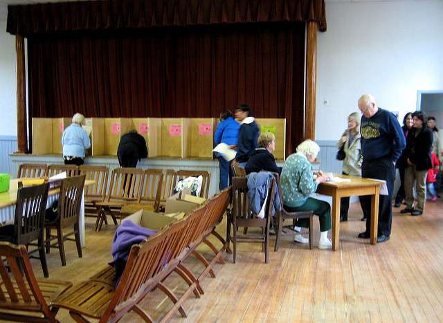 Voting day in a small town, Liz West. CC BY